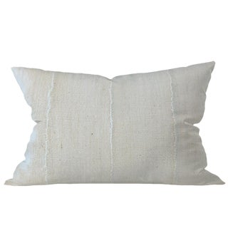 African Solid White Mudcloth Pillow