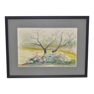 Vintage Flowering Roses Watercolor Painting