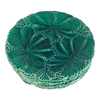 English Majolica Cabbage Plates - Set of 6