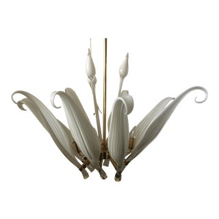 Seguso Murano Glass Leaf Chandelier