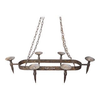 Rustic Spanish Style Solid Metal Six-Arm Hanging Candelabra Chandelier