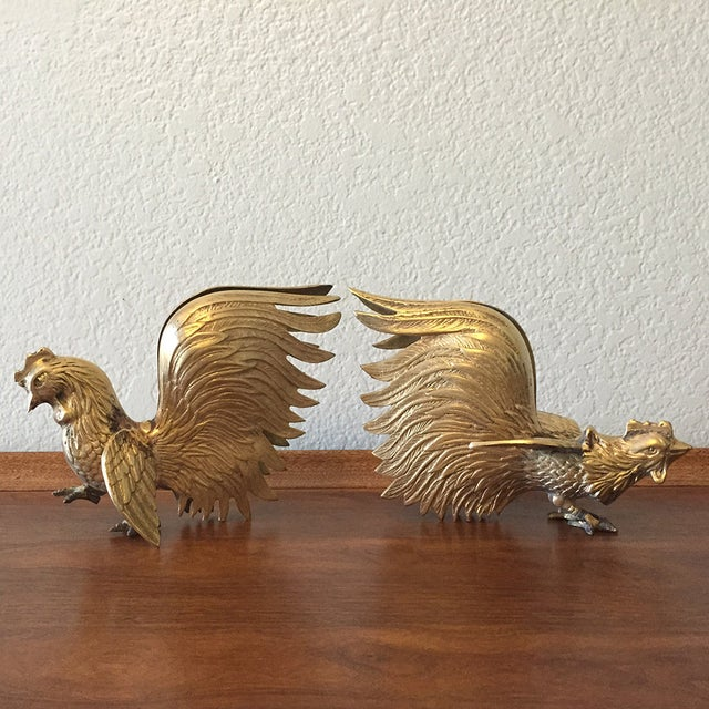 Vintage Brass Fighting Roosters - A Pair - Image 4 of 5