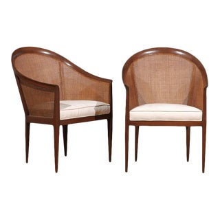 Pair of Kipp Stewart for Directional Cane Back Armchairs