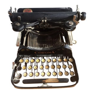 Antique 1917 Corona Agency Folding Typewriter with Case