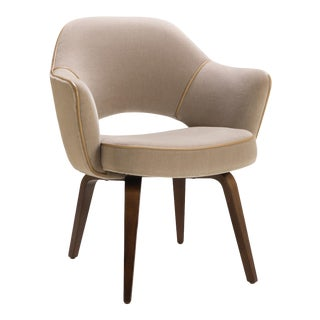 Saarinen Executive Arm Chair with Walnut Legs in Mohair and Leather Piping