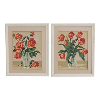 Numbers Original Still Life Floral Painting - a Pair
