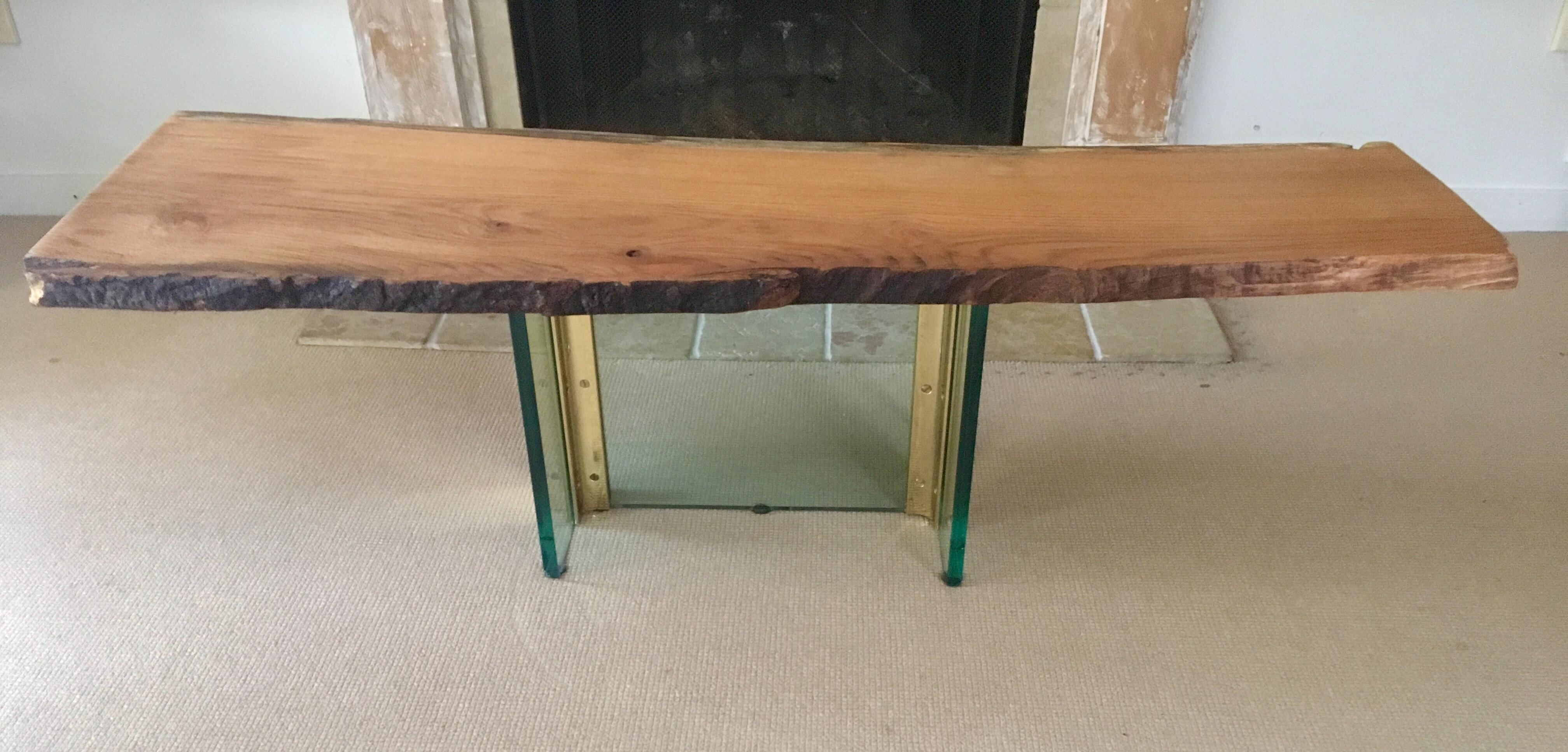 Red Oak Raw Edge Glass Coffee Table Chairish