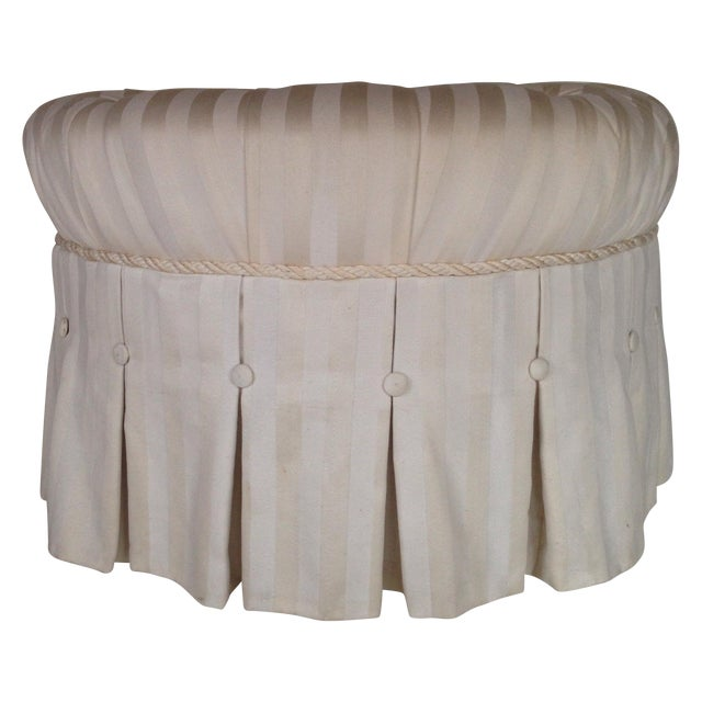 Tufted & Skirted Off White Ottoman - Image 1 of 5