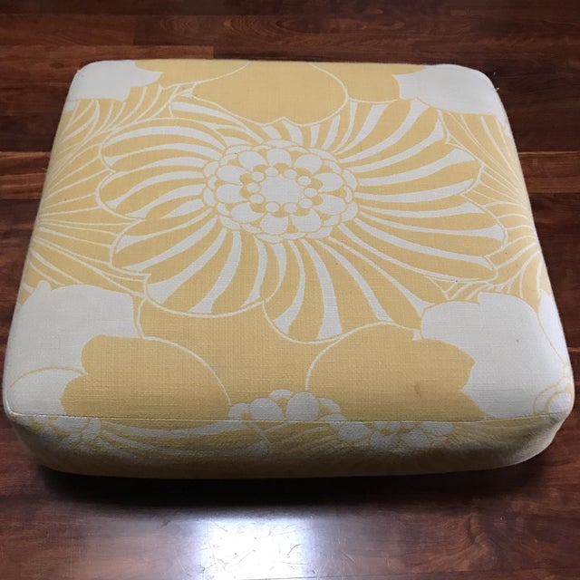 Yellow Floral Floor Cushion - Image 4 of 6