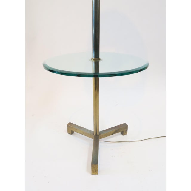 Brass Floor Lamp With Glass Table - Image 4 of 7