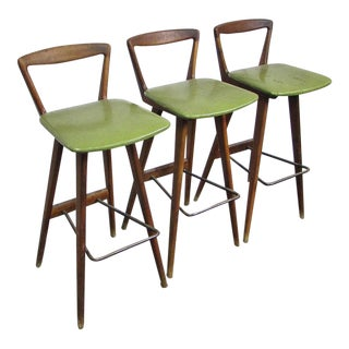 Vintage Mobel Industries Teak Bar Stools - Set of 3