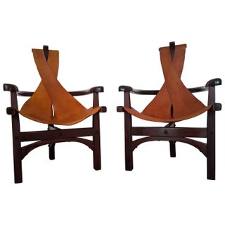 Arts & Crafts Slung Leather Chairs - A Pair