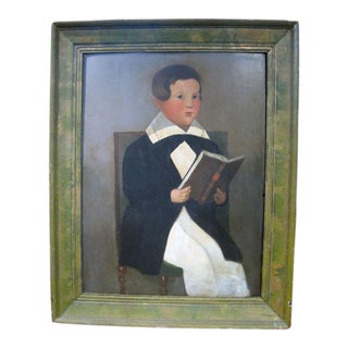 Folk Art Portrait of a Boy w/Book