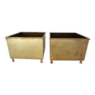 Sarreid Vintage Brass Planters - a Pair