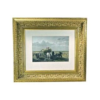 Antique 1860 Harvesting Engraving