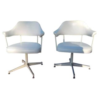 Mid Century Swivel Office Chairs - Pair