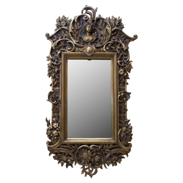 Carved Wood Mirror With Gilt Finish - Image 1 of 8