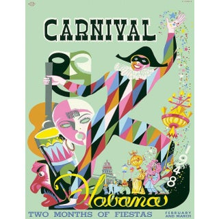 Carnival Havana Travel Poster, Matted and Framed