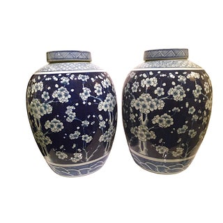 Blue and White Ginger Jars - A Pair