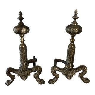 Georgian Decorative Brass Lions Feet Andirons - a Pair