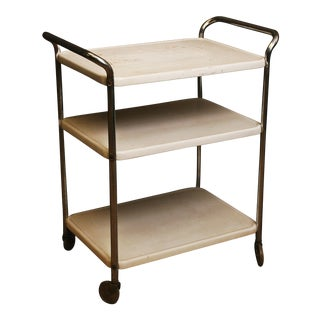 Mid Century Modern White Cosco 3 Tier Cart
