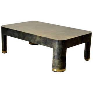 Karl Springer Attributed Lacquered Goatskin & Brass Coffee Table