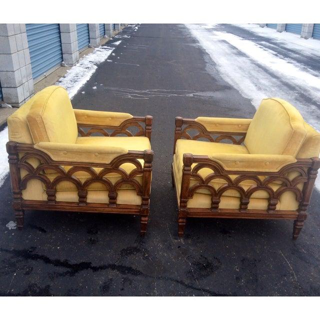 Mid-Century Thomasville Velour Club Chairs - Pair - Image 2 of 8