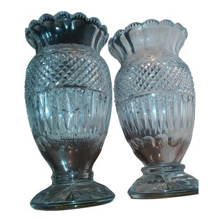 Antique Mamouth Waterford Irish Crystal Vases - Pair