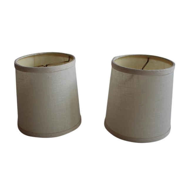 Clip-on Beige Linen Sconce Shades - A Pair - Image 1 of 5
