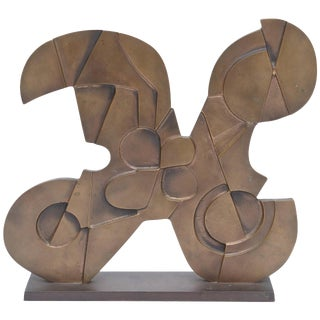 Signed Italian Consagra Abstract, Modernist and Cubist Bronze Sculpture