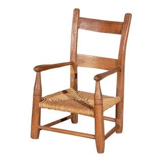Early 19th Century Hickory Childs Chair with Original Rush Seat