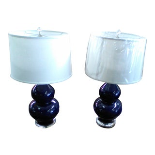 Dark Blue Table Lamps - A Pair