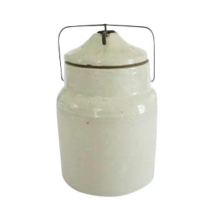 Image of Vintage White Stoneware Kitchen Jar Crock with Clamp Lid