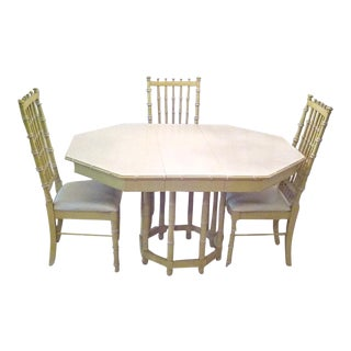 Thomasville Vintage 1970's Faux Bamboo Dining Set 6 Chairs