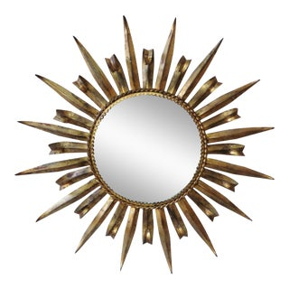 French Metal Sunburst Mirror