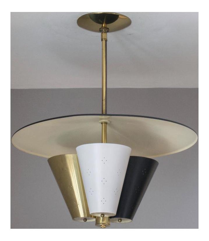 midcentury tricone reflector lightolier fixture