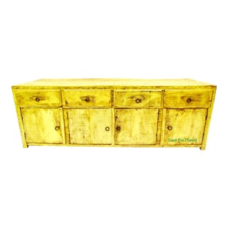 Antique Low Sideboard Media Console In Eco-Friendly Reclaimed Solid Wood