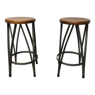 West Elm Ribbon Counter Stools - A Pair