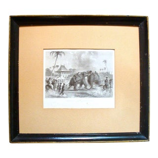 Chinoiserie Black and White Engraving of Elephant Fight