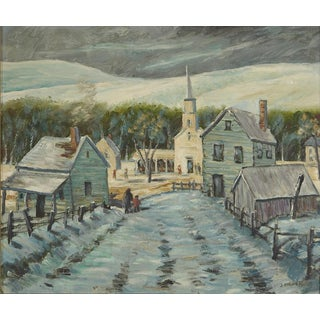 Oil Painting of a New England Village in Winter in Vermont