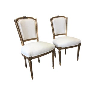 French Antique Louis XVI Style Parcel Gilt Side Chairs - a Pair