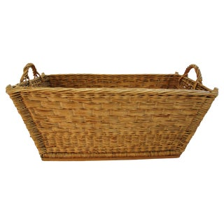 Early 1900s French Willow and Wicker Market Basket