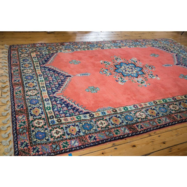 "Vintage Red & Blue Moroccan Rug - 6'8"" X 9'6"" - Image 2 of 9"