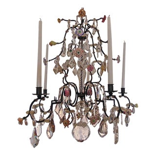 18th Century Five Light French Provincial Chandelier with Porcelain Flowers