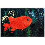 Image of Textured 'Goldfish Waiting' Painting