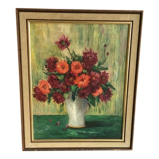 Vintage Green & Red Floral Painting