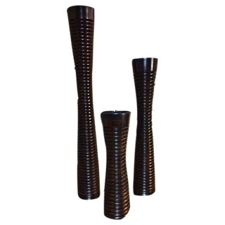 Solid Wood Pillar Candleholders - Set of 3