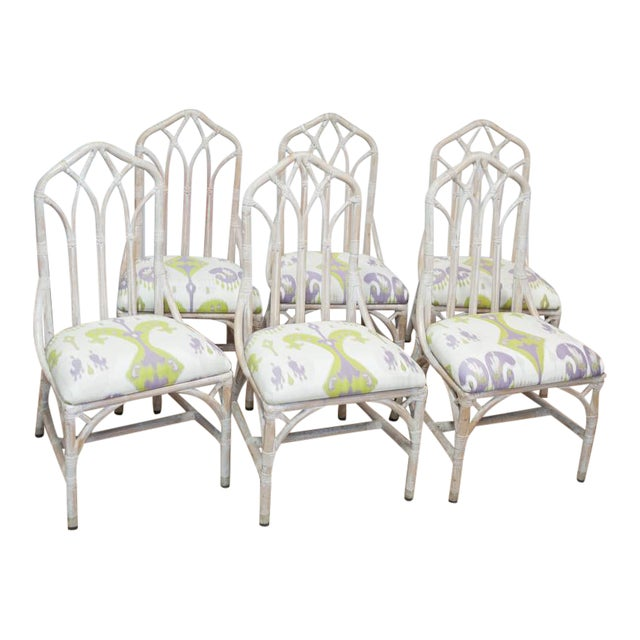 Rattan Upholstered Dining Chairs - Set of 6 - Image 1 of 8