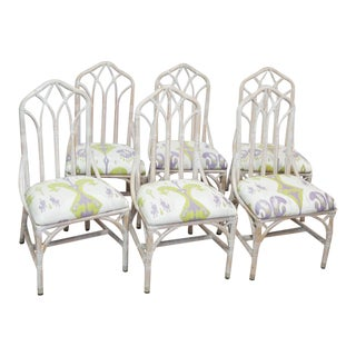 Rattan Upholstered Dining Chairs - Set of 6