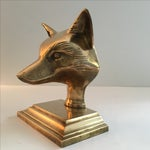 Image of Vintage Solid Brass Fox Head Bookend